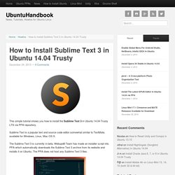 How to Install Sublime Text 3 in Ubuntu 14.04 Trusty
