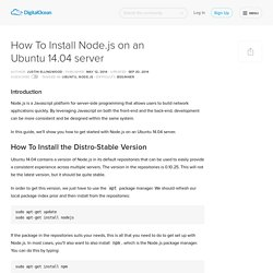 How To Install Node.js on an Ubuntu 14.04 server