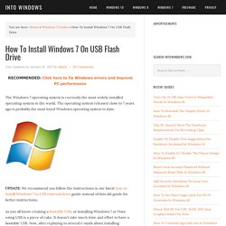 How To Install Windows 7 On USB Flash Drive