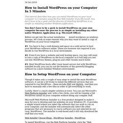 How to Install WordPress on a Local Computer - WordPress on Windows