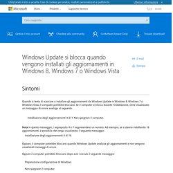 Windows Update si blocca quando vengono installati gli aggiornamenti in Windows 8, Windows 7 o Windows Vista