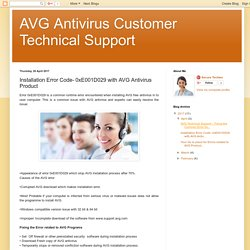 AVG Antivirus Customer Technical Support: Installation Error Code- 0xE001D029 with AVG Antivirus Product