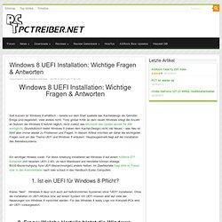 Windows 8 UEFI Installation: Fragen & Antworten - PCTreiber.Net