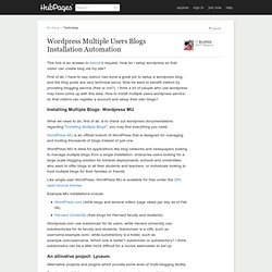 Wordpress Multiple Users Blogs Installation Automation