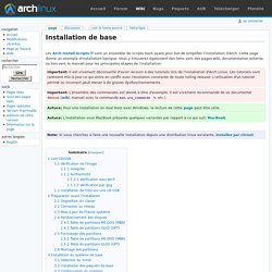 Installation de base - ArchwikiFR