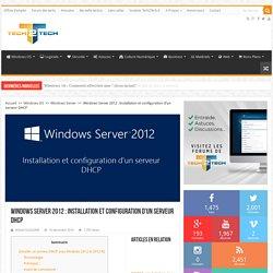 Windows Server 2012 : Installation et configuration d'un serveur DHCP