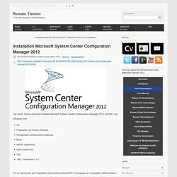 Installation Microsoft System Center Configuration Manager 2012