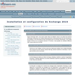 Installation et configuration de Exchange 2010