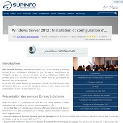 Windows Server 2012 : Installation et configuration d'un serveur RDS