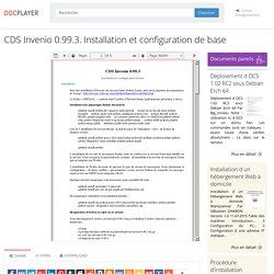 ⭐CDS Invenio 0.99.3. Installation et configuration de base