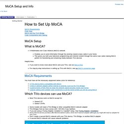 Installation/Setup/Configuration: MoCA Setup and Info