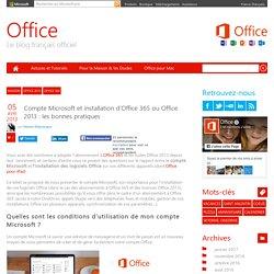 Installation d'Office 365 ou Office 2013 : bien configurer votre Compte Microsoft
