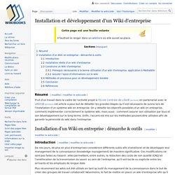 Installation et développement d'un Wiki d'entreprise — Wikilivres