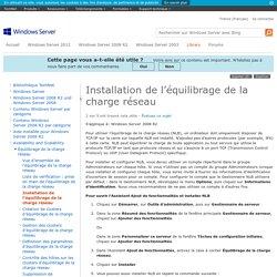Installation de l'équilibrage de la charge réseau