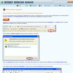 Manual installation of IDM plugin for Firefox and other Mozilla based browsers