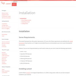 Installation - Laravel - The PHP Framework For Web Artisans