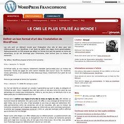 Définir un bon format d'url dès l'installation de Wordpress