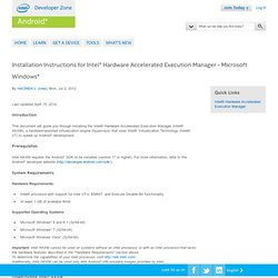 Installation Instructions for Intel® Hardware Accelerated Execution Manager - Microsoft Windows*