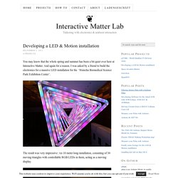 Developing a LED & Motion installation — Interactive Matter Lab