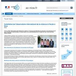 observatoire international de la violence à l'école Nice