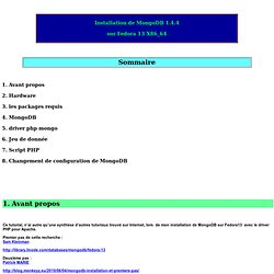 Installation de MongoDB 1.4.4 sur Fedora 13 X86_64