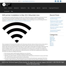 WiFi printer installation in Mac OS X Mountain Lion