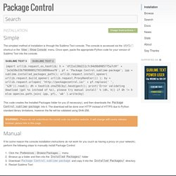 Installation - Package Control