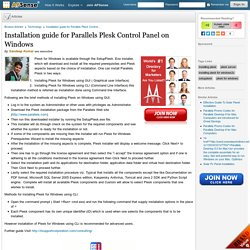 Installation guide for Parallels Plesk Control Panel on Windows by Sandeep Kumar
