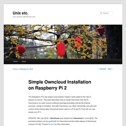 Simple Owncloud Installation on Raspberry Pi 2