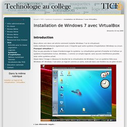 Installation de Windows 7 avec VirtualBox - Technologie au collège