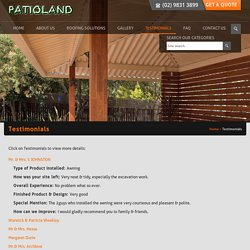 Awnings, Decks Patio Design & Installation Testimonials