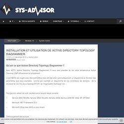 Installation et utilisation de Active Directory Topology Diagrammer - Sys-advisor