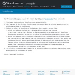 Français « Installation — WordPress