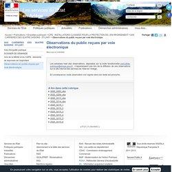 Observations du public reçues par voie électronique / SAS CARRIERES DES QUATRE SAISONS - ST-LARY / ICPE - INSTALLATIONS CLASSEES POUR LA PROTECTION DE L'ENVIRONNEMENT / Enquêtes publiques / Publications / Accueil - Les services de l'État en Ariège