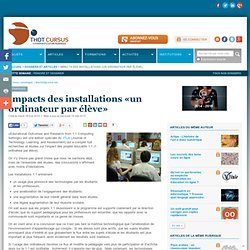 Impacts des installations «un ordinateur par élève»