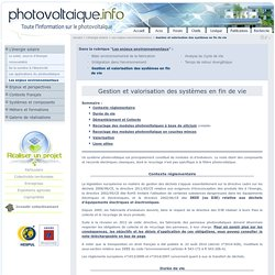 Recyclage des installations solaires photovoltaique