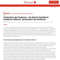 """Un décret installe le médecin référent """"protection de l'enfance"""""""