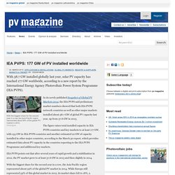 IEA PVPS: 177 GW of PV installed worldwide: pv-magazine