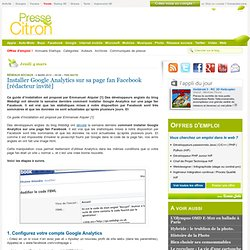 Installer Google Analytics sur sa page fan Facebook
