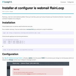 Installer et configurer le webmail RainLoop