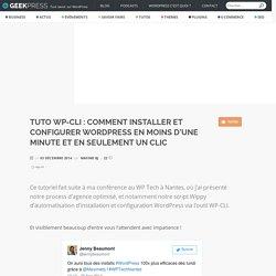 Tuto WP-CLI : Comment installer et configurer WordPress en moins d'une minute et en seulement un clic - GeekPress