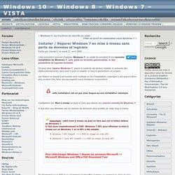 Installer / Réparer Windows 7 en mise à niveau sans perte de données et logiciels
