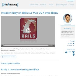 Installer Ruby on Rails sur Mac OS X avec rbenv