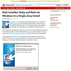 Rails Installer: Ruby and Rails on Windows in a Single, Easy Install
