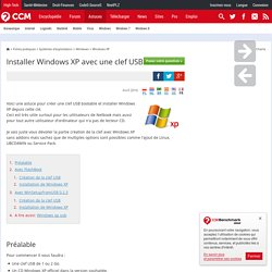 Installer Windows XP avec une clef USB