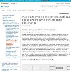 Vue d'ensemble des services installés par le programme d'installation d'Exchange: Aide d'Exchange 2010