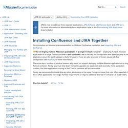 Installing Confluence and JIRA Together