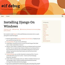Installing Django On Windows | #if debug