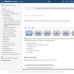 Installing JIRA Standalone on Unix or Linux - JIRA 4.1