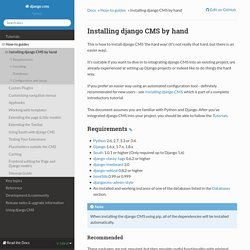 Installing django CMS by hand — django cms 3.1.3 documentation